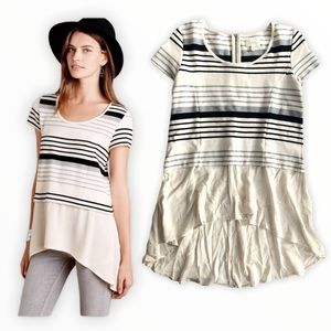 Anthro Deletta striped hi low peplum tunic top